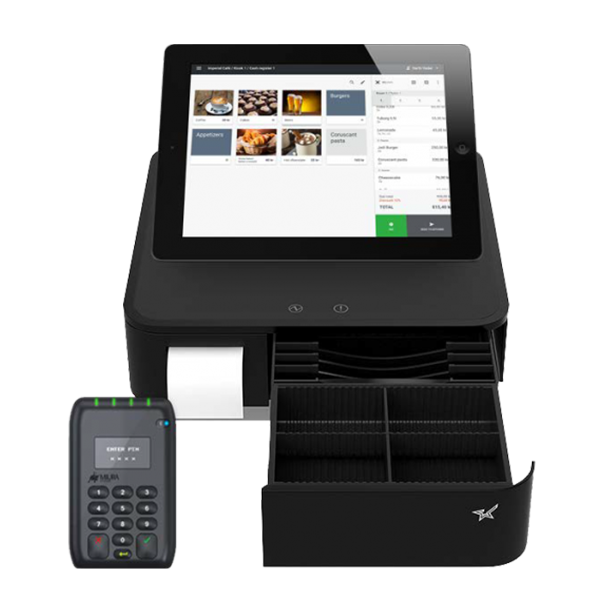 Paybox med utstyrspakke, kraftig 3-i-1 kassesystem