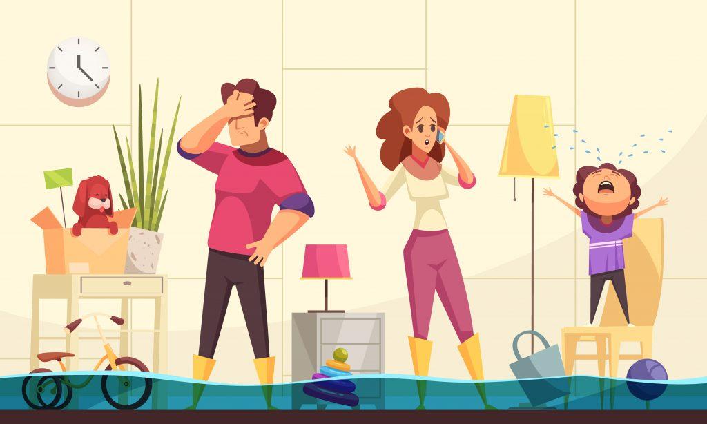 Animasjonsbilde av en fortvilt familie i et hus som er fylt av vann, husk å ta vannsjekken